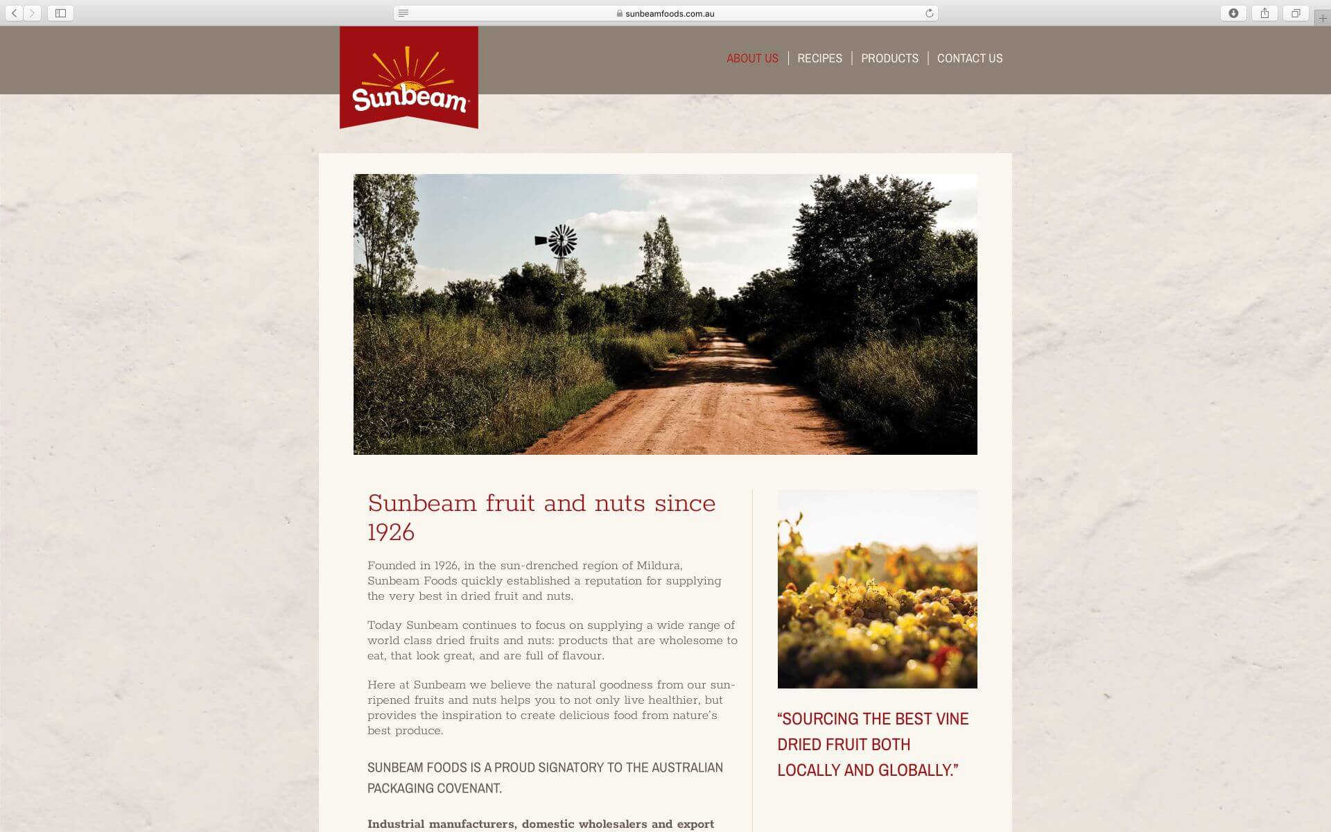Sunbeam Foods Website